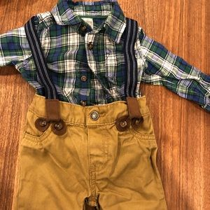 Khaki and green plaid set with suspenders